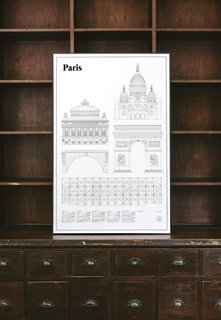 The Elevations Architectural Print Series is a thoughtful collection of portraits of famous international cities. In architectural drawings, elevations are flat representations of the façade of a building, showing a complete view of one building's side. At the bottom of each Elevations Print, studio esinam includes details about each building pictured. The Paris Elevations Architectural Print includes architectural drawings of five buildings—Sacré-Cœur, Palais Garnier, Arc de Triomphe, Pont Marie, and Centre Georges Pompidou.