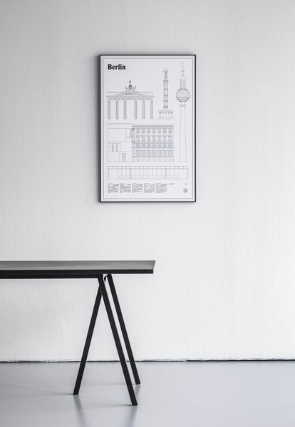 The Berlin Elevations Architectural Print celebrates building from the German capital, including iconic structures alongside lesser known places, focusing on the often overlooked details that comprise the modern urban experience. This print provides architectural drawings of five of Berlin's buildings— Brandenburger Tor, Berliner Siegesäule, Am Kupfergraben 10, Berliner Fernsehturm, and Neue Nationalgalerie.