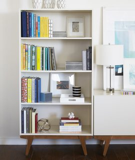 """This bookshelf and storage credenza are part of the """"Modern"""" collection."""