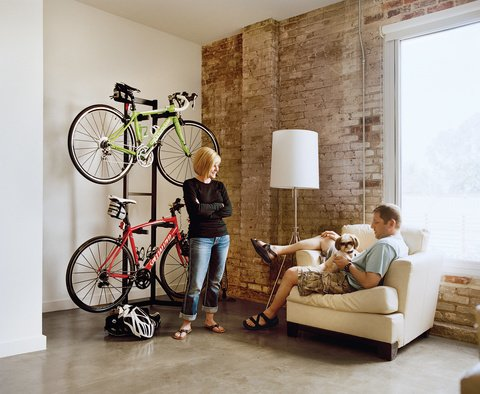 Melissa and Keith Bishop successfully simplified their 720-square-foot loft space. Photo by: Jake Stangel  Loft from Lofts Worth a Second Look