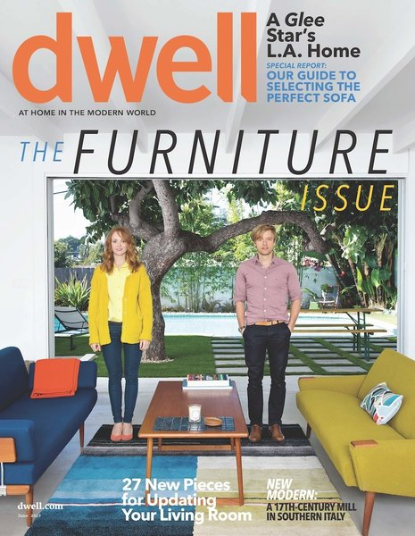 Our June issue cover features the modern L.A. home of Glee star Jayma Mays and her husband, actor Adam Campbell.