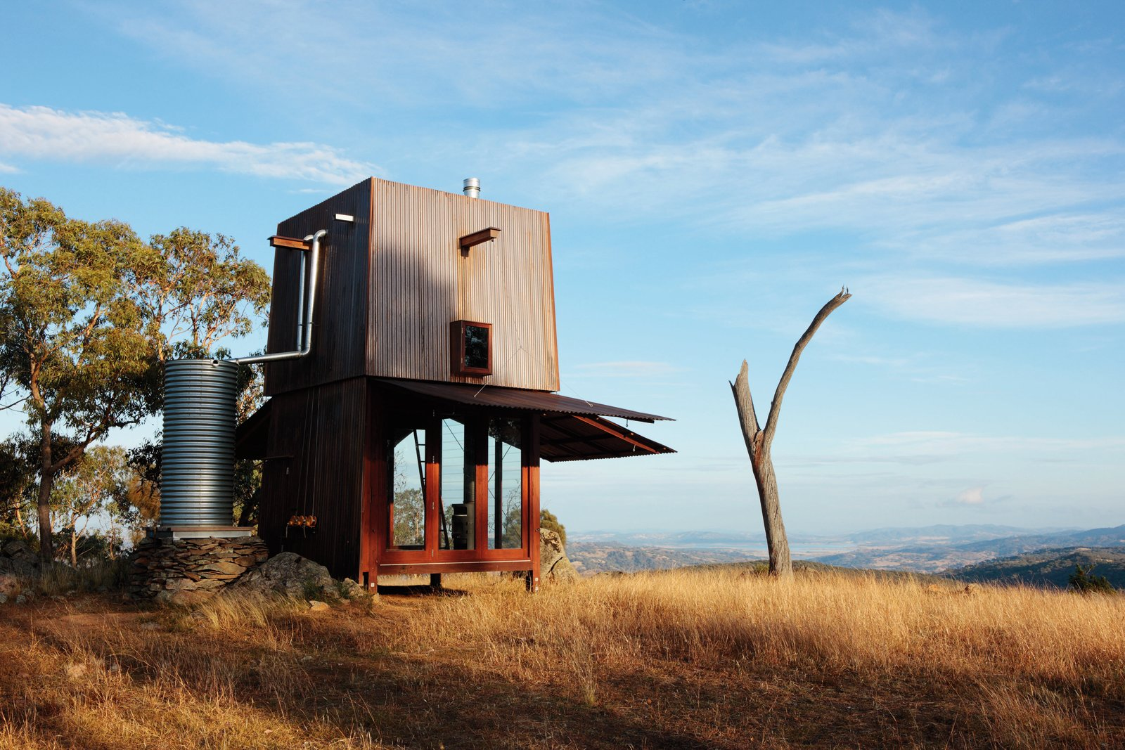 Rainwater is collected from the rooftop of the Permanent Camping! Mudgee abode by Casey Brown, NSW, Australia. Photo by Penny Clay  Green