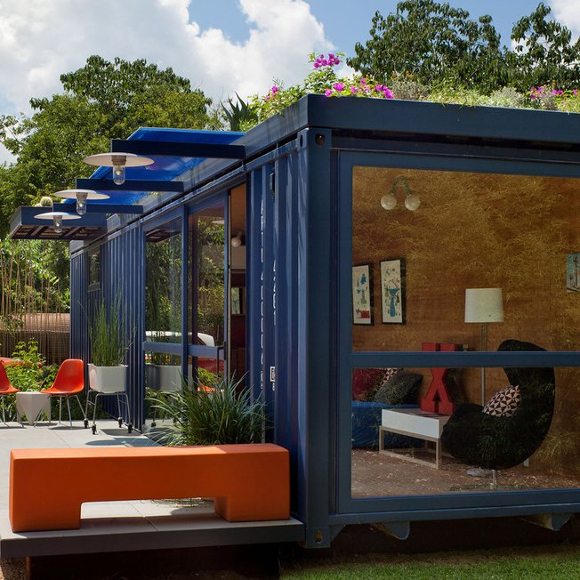 A shipping container is perfectly sized to serve as a tiny guesthouse, as San Antonio artist Stacey Hill finds.  5 Ways to Use Steel in Modern Homes by Allie Weiss from We'd Fancy a Stay in One of These Modern Guest Rooms