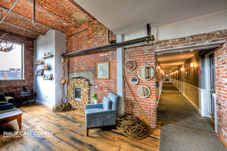 The Ale House Inn in Portsmouth, New Hampshire underwent an extensive renovation in 2009 when it was purchased by Doug Palardy and Daniel Innis––and is now one of the finest east coast inns. Photo by Philip Case Cohen.  exposed brick from Modern Hotels We Love