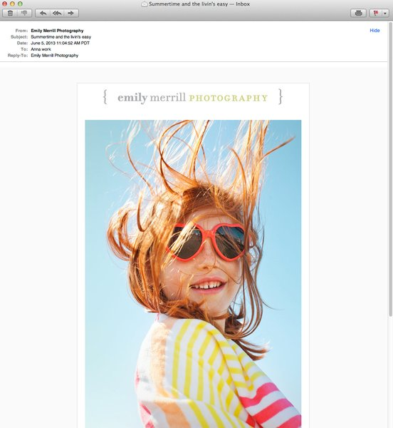 Emily Merrill's photography promo sent via email