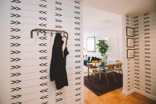 """One of the best parts about having a designer is having the courage to take the leap into a bold statement. A patterned entry wallpaper let's you say """"...it's perfectly alright to be jealous"""" - without actually having to say it. Photo by Chellise Michael Photography."""