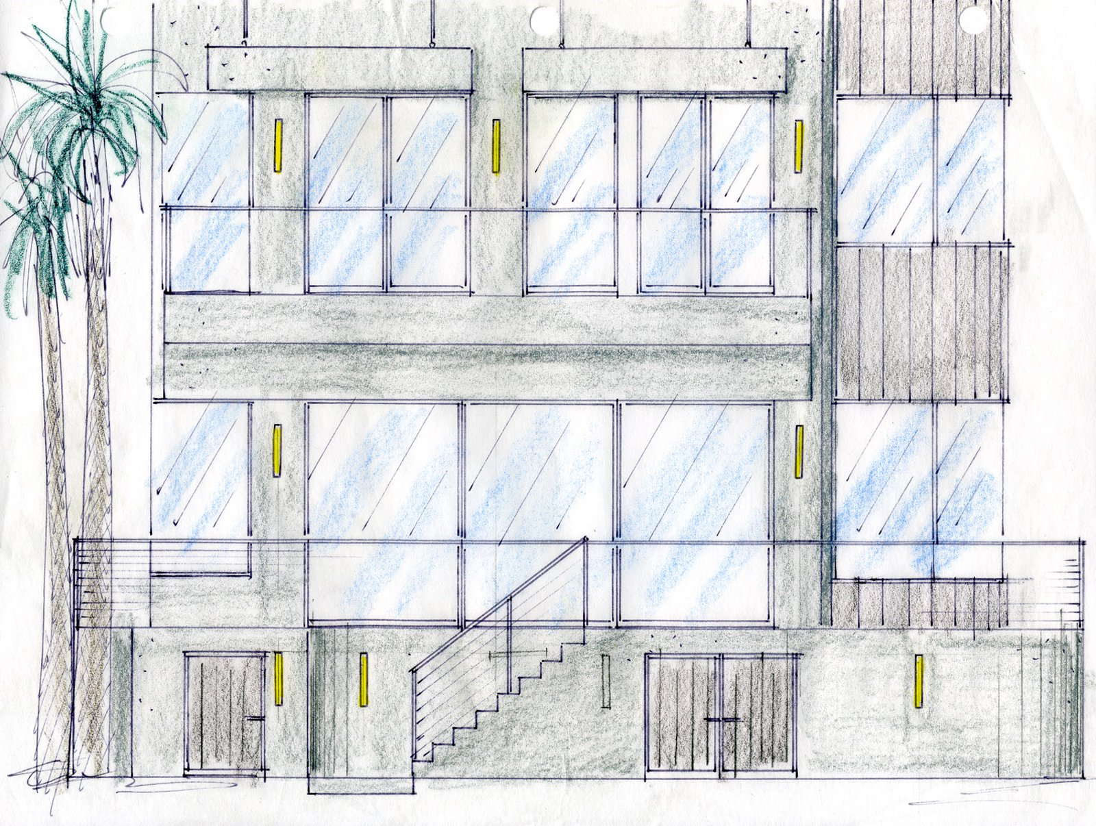 An original sketch of the couple's residence by project designer John A. Turturro of Turturro Design Studios and architect of record Larry Graves of Alliance Design Group.   Photo 18 of 18 in Actor Bryan Cranston's Green Beach House Renovation