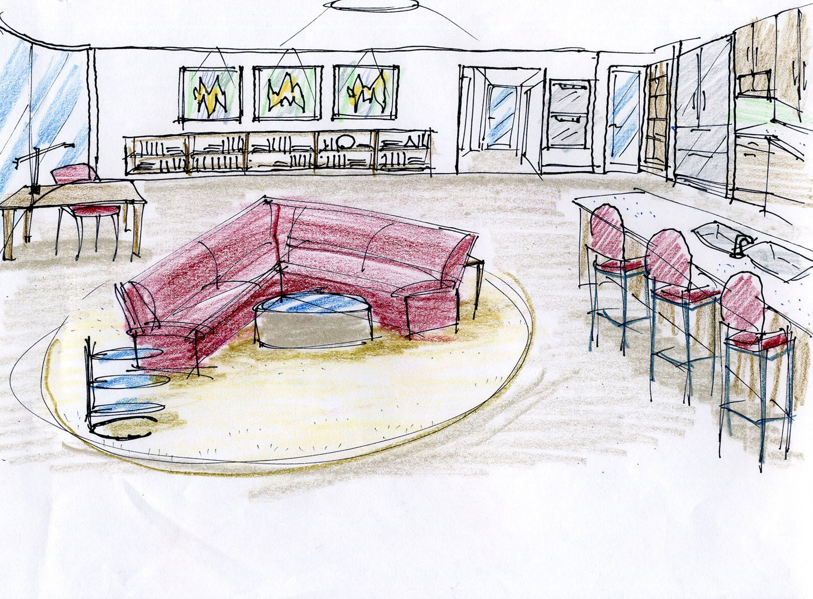 "An early sketch for the centrally located living room. Project designer John A. Turturro worked closely with Bryan Cranston and Robin Dearden to select all the furnishings and interior materials. ""John really knows his stuff,"" says Dearden.   Photo 13 of 18 in Actor Bryan Cranston's Green Beach House Renovation"