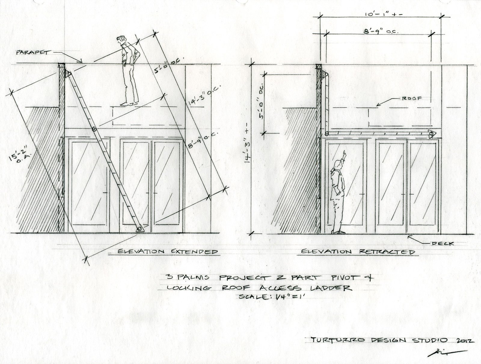 A drawing illustrates the two-part pivot and locking roof access ladder.  Photo 1 of 18 in Actor Bryan Cranston's Green Beach House Renovation from Plans