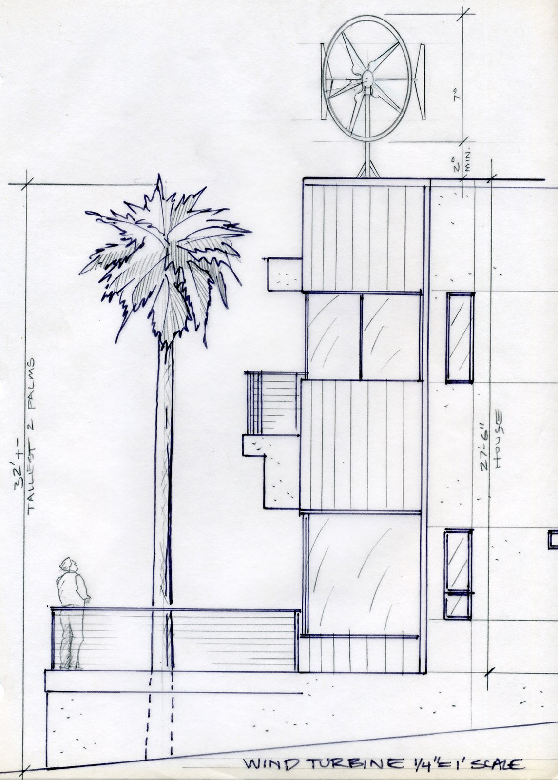 An early study of a wind turbine for the roof, an idea that was eventually scrapped by the team due to permit and acoustics issues, as well as concern for native wildlife.   Photo 1 of 18 in Actor Bryan Cranston's Green Beach House Renovation from Plans