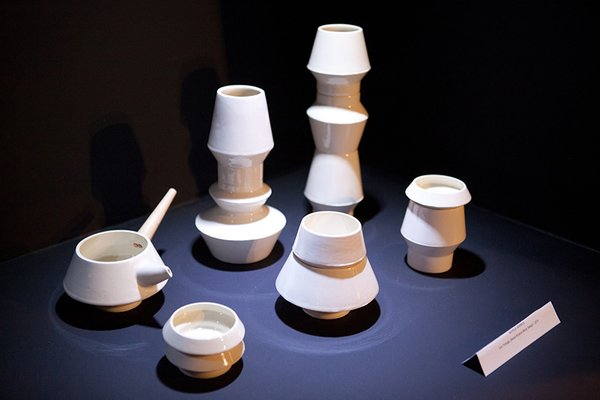 Now working from Istanbul, Müzz Design team's Erin Türkoğlu and Melodi Bozkurt first met in Pratt Institute's Industrial Design program. Their interests criss-cross from furniture and product to fashion. They introduced their Novela Vessels, a graphical series of tabletop vessels.