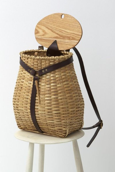 Black Ash Baskets for March Adirondack Pack Basket with lid and leather straps. $1,600