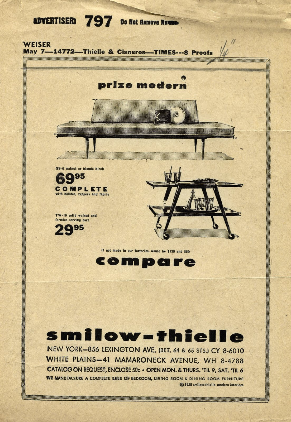A Smilow-Thielle advertisement appeared weekly on page three of the New York Times in the 1960s through early 1970s. Photo courtesy of the Smilow Family.  Photo 4 of 7 in Mid-Century Designer Focus: Mel Smilow