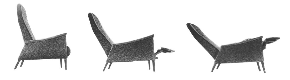 """This is the lightest-looking and least cumbersome recliner on the market today,"" the Smilow-Thielle partners wrote about the WAC-Recliner in their 1969 sales manual. The leg structure was an integral part of the hardwood frame and so did not need screw-in legs. Photo courtesy of the Smilow Family.  Photo 7 of 7 in Mid-Century Designer Focus: Mel Smilow"