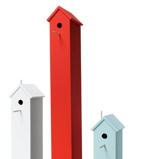 Attic Bird Houses in Cloud White, Tomato Red, and Robin's Egg Blue by Studio Chad Wright, from $350.