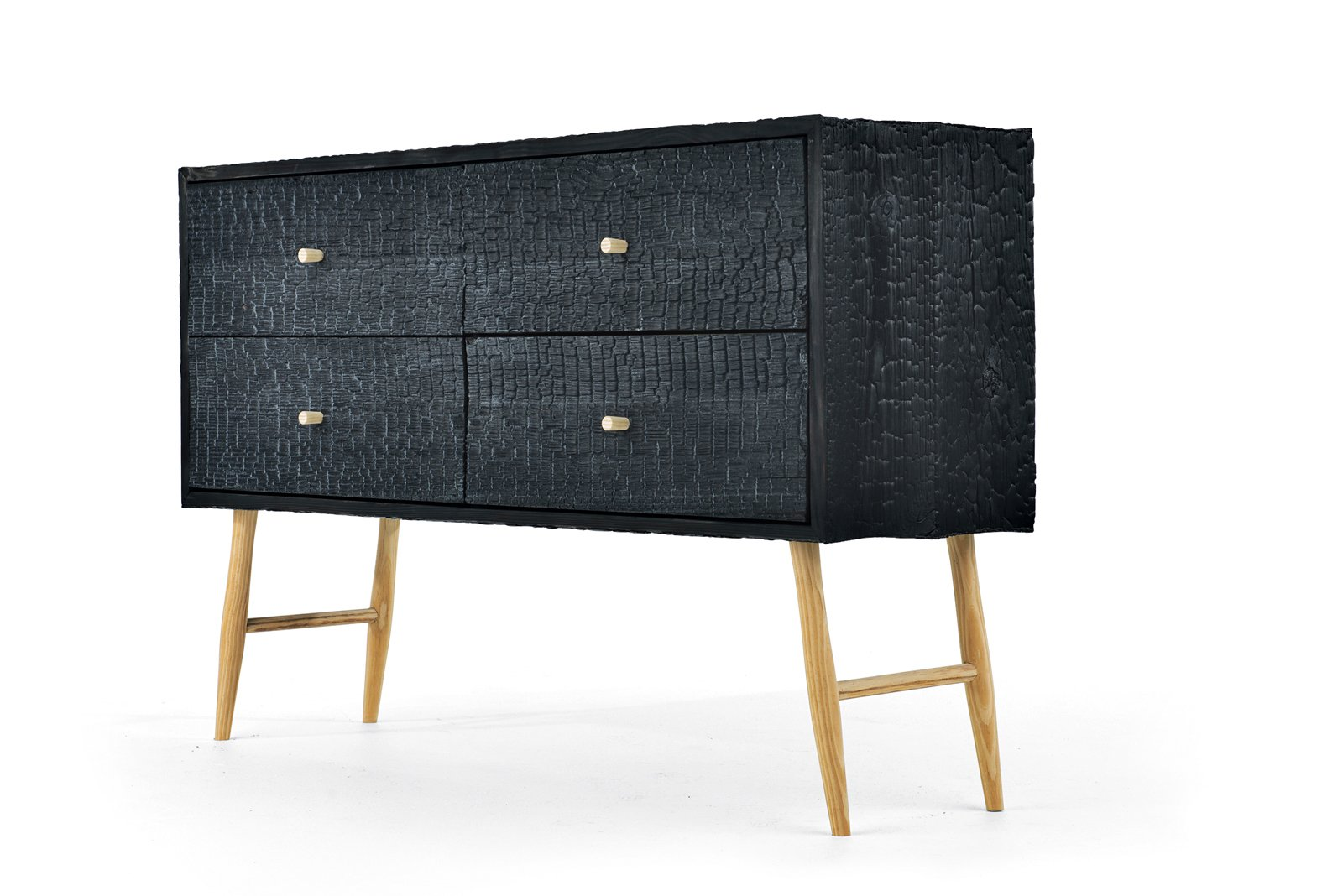 The Charred Ladder Leg cabinet was built from blackened Charleston loblolly pine with a dramatic texture.  Photo 3 of 3 in American Made Design: Moran Woodworked Furniture
