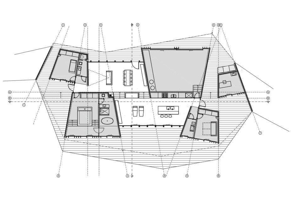 Clifftop House Floor Plan  A Open Kitchen  B Dining Room  C Living Room  D Master Bedroom  E Kids' Bedroom  F Guestroom  G Bathroom  H Home Office  I Sail Loft and Workshop  J Deck  Photo 7 of 10 in Clifftop House with Angled Roof in Maui