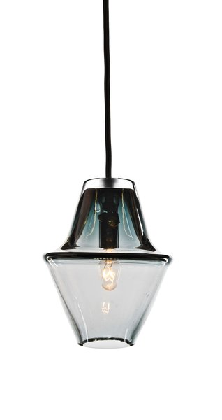 Cumberland lamp in Smoke Gray by Studio Dunn  $338 The moody pendant lamp is handblown in the Rhode Island firm's hot-glass workshop.
