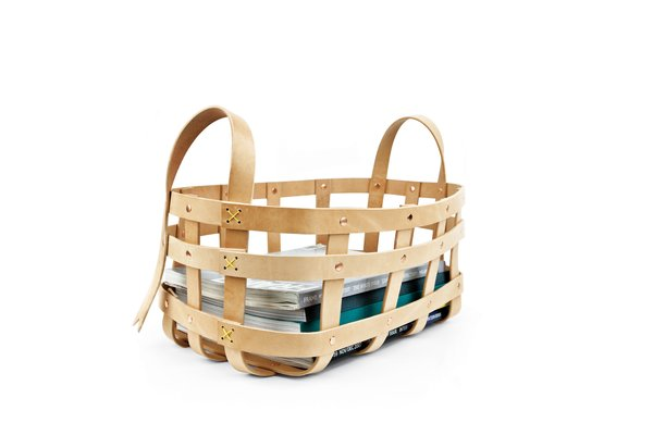 Large strap leather basket by byAMT  $253 New York City designer Alissia Melka-Teichroew, in collaboration with Mimot Studio, reinterprets the Shaker basket with natural belt-leather strapping and copper-plated hardware.