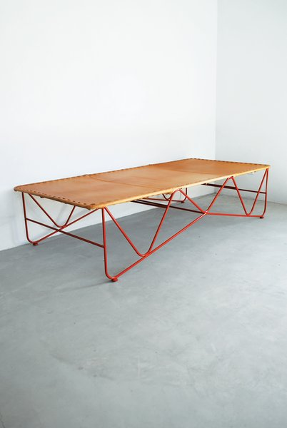 Saddle Leather Cot by Garza Furniture  $2,300 Known as an artist enclave, the town of Marfa, Texas, is also home to industrial designer Jamey Garza, whose leather furniture is supported by attenuated powder-coated steel frames.