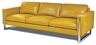 Savino leather sofa in Bison Marigold by American Leather $5,550  From its home base outside of Dallas, Texas, American Leather promises delivery on its pebble leather–upholstered seating in less than 30 days.