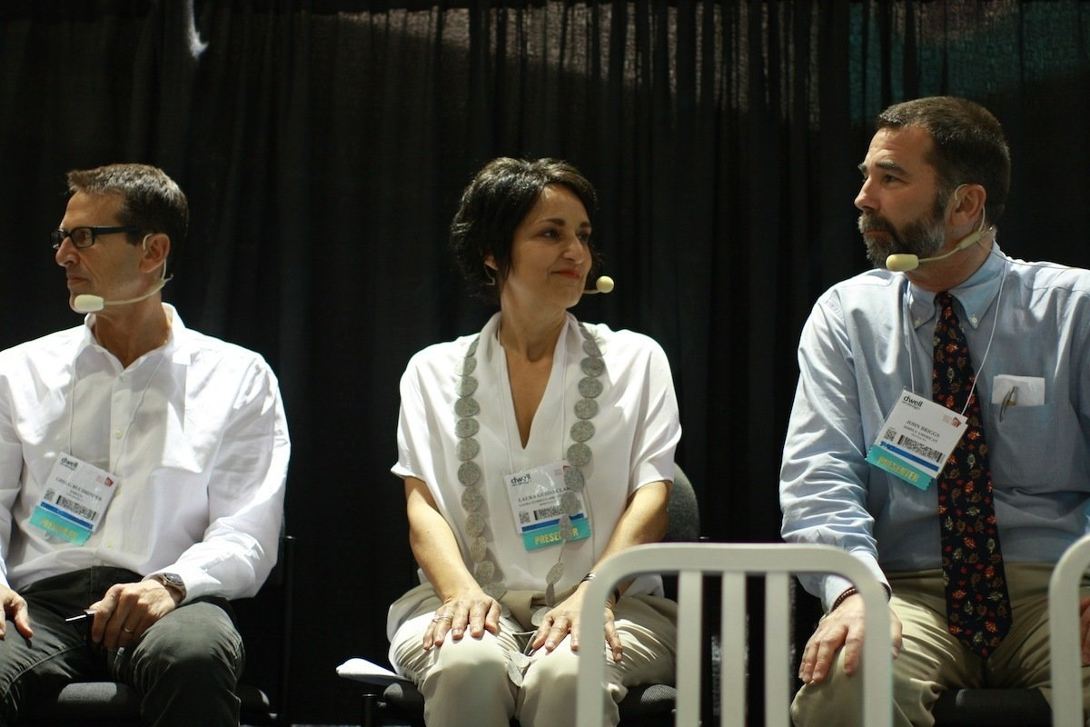 """Pictured here are Dwell on Design 2013 """"Can You Spot the Fake?"""" panelists (left to right) Emeco chairman and Be Original member Gregg Buchbinder; textile designer, color consultant, and trend forecaster Laura Guido-Clark; and Made in America blogger John Briggs. At first Buchbinder was hesitant to bring, as requested, an original Emeco Navy Chair and a knockoff version. After all, as he pointed out, the real differences between the two chairs are not always visible to the naked eye. The whole point of knockoffs is to create a product that visually resembles an original, authentic design. So to really understand the difference between the two chairs, one has to look much deeper—into the design and manufacturing process, environmental protection, worker rights, and even to the broader American economy.  Can You Spot the Fake? How Knockoffs Affect the Design Industry by Jaime Gillin"""