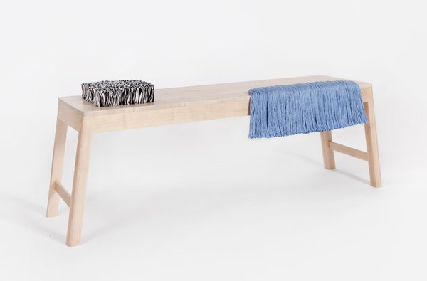 Brook&Lyn's new Rya bench, combining solid maple with a clear coat finish and handwoven cotton yarns.