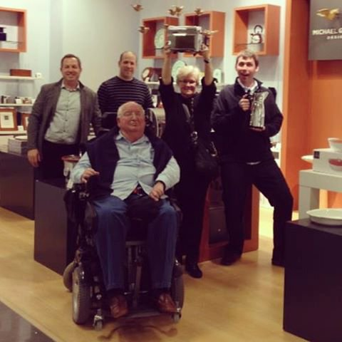 Here's Michael Graves (front) along with Donald Strum (back right) in one of the jcpenney shops-within-a-shop dedicated to the Graves line.
