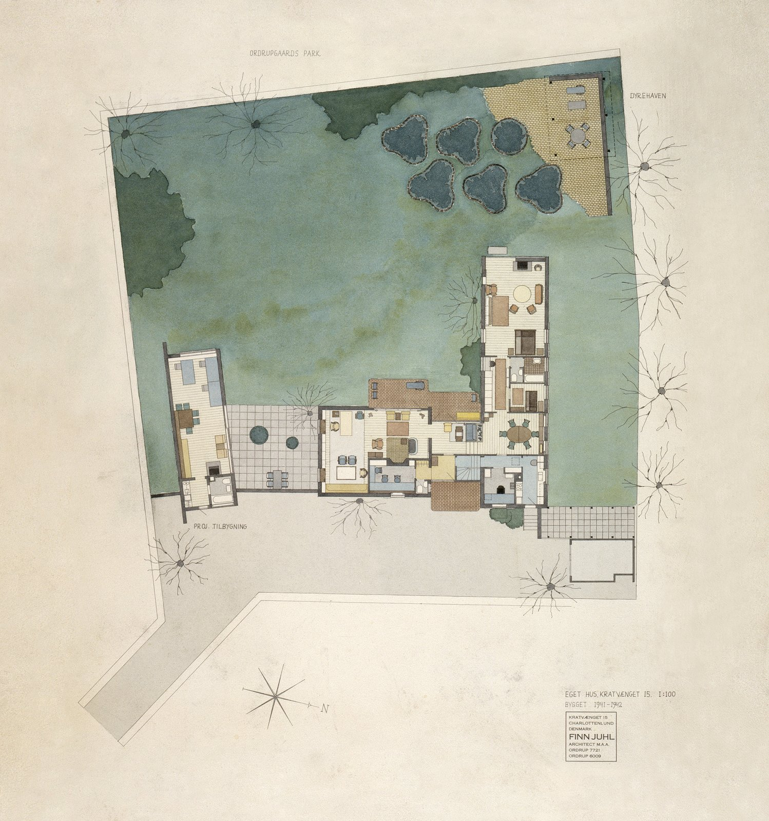 Juhl painted this watercolor rendering of the house in 1968, more than 25 years after the house was finished. The site plan of the property shows a separate building that was supposed to house Juhl's design studio. The plan was never realized and the bedroom facing west was expanded instead.  Photo 6 of 7 in The Highly Personal House of Danish Design Great Finn Juhl