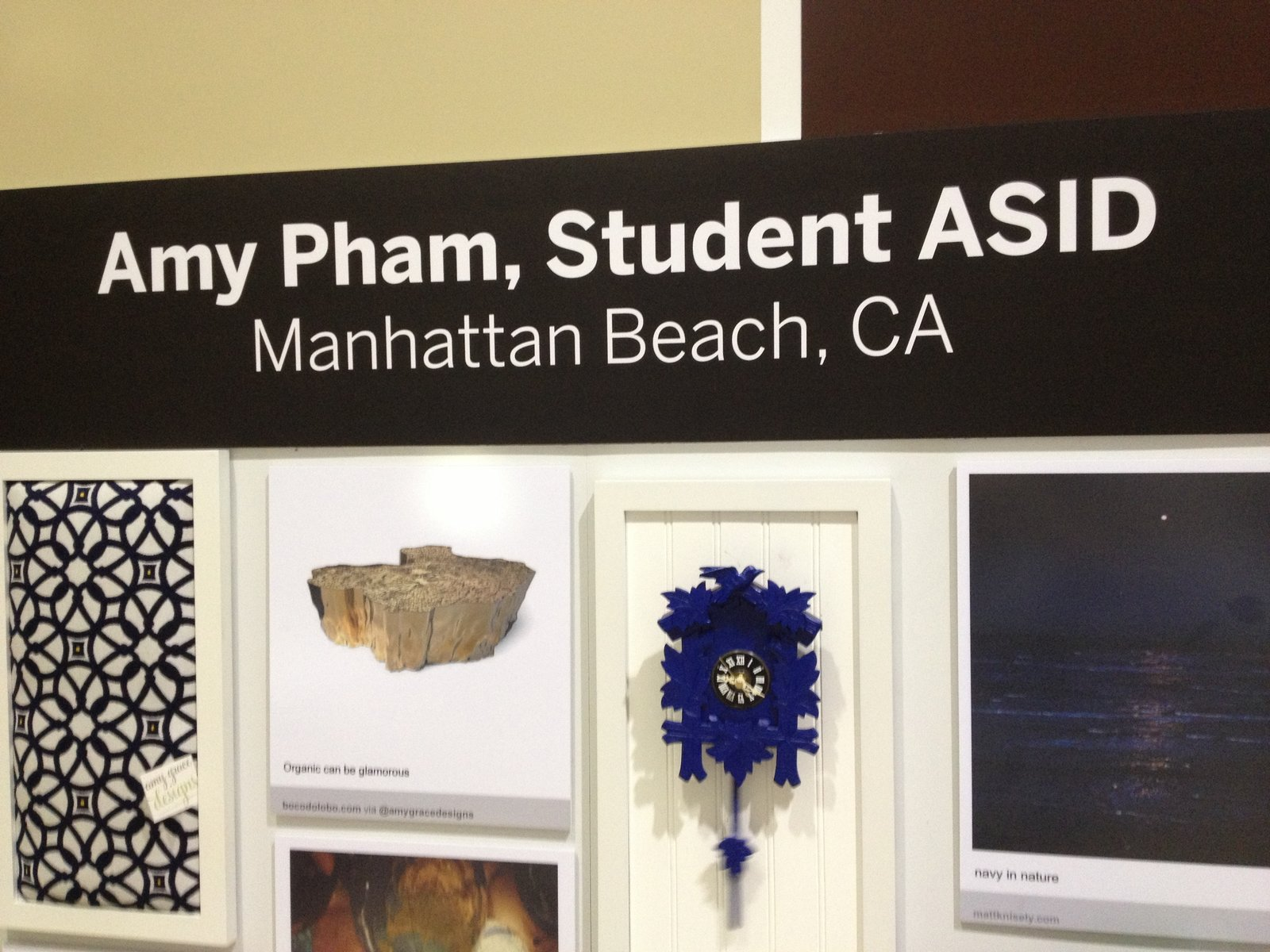 Amy Pham of Amy Grace Designs, Student ASID of Manhattan Beach, brought inspirations ranging from the ocean to a natural wood stump table.  Pinboards Come to Life in the Pinterest Pavilion by Erika Heet