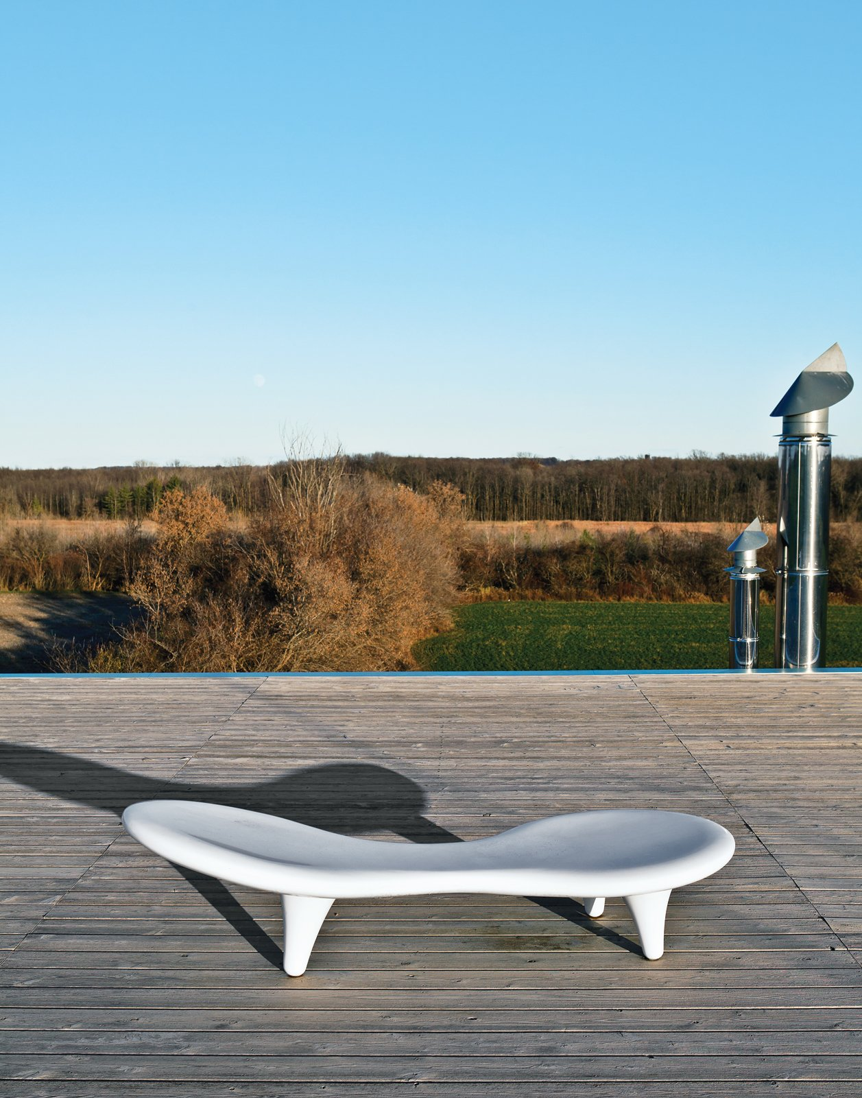 Outdoor, Wood Patio, Porch, Deck, and Large Patio, Porch, Deck Orgone chaise longue by Marc Newson for Cappellini  Photo 8 of 10 in An Architect References Local Architecture to Build a Modern Home