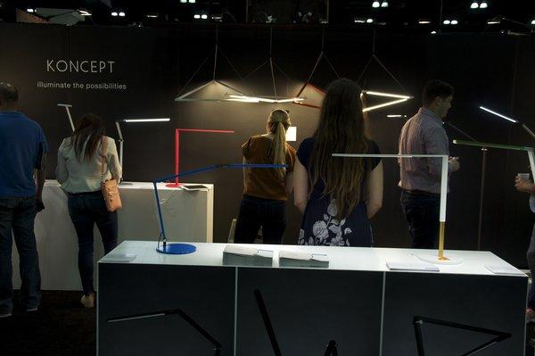 Koncept showcased its slim Z-Bar pendant and desk lights.
