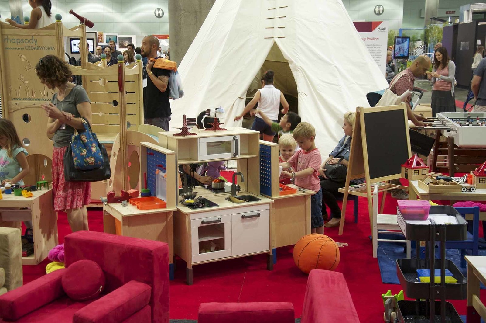 Indoor and outdoor furniture company Grandin Road brought two high-design teepees to the Dwell Outdoor area, and another to the Modern Family Pavilion.  Explore the Modern Family Pavilion at Dwell on Design 2015 by Dwell