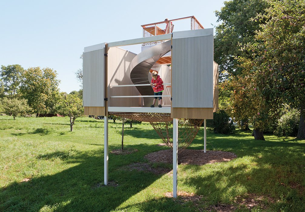 Exterior and Treehouse Building Type Davis worked with contractor Ted Timmer to construct the playhouse on her family's 30-acre property.  Modern Treehouses by Aileen Kwun from Kid-Friendly Treehouse in Upstate New York