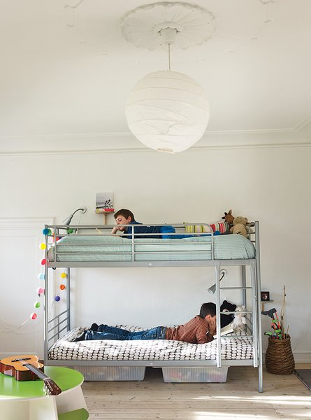 The boys' bunk beds are by Ikea.