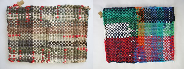 These colorful t-shirt mats are woven in Brooklyn by artist Joegeda from around 40 vintage pullovers each for a 2.5' x 3.5' rug—ideal for kitchens and baths. ($130)
