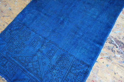 """Vintage Turkish rug, 3'7""""x5'5"""", that Aelfie overdyed in a bright royal blue ($410)."""
