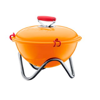 Just browsing the cheery selection of enamel-coated steel charcoal barbeques from Bodum boosts our spirits with thoughts of the next summer afternoon spent grilling hot dogs and hamburgs in the breeze.
