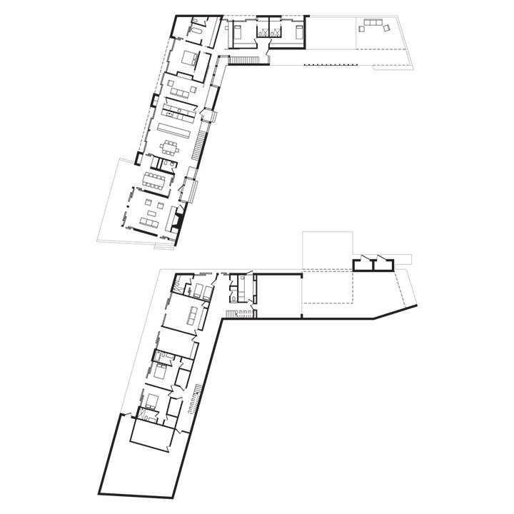 Boyle Residence Floor Plan  A    Entry  B    Living Room  C    Outdoor Dining Room  D    Formal Dining Area  E    Kitchen  F    Family Room  G    Master Bedroom  H    Master Bathroom  I    Bedroom  J    Bathroom  K    Deck  L    Exercise Studio  M     Garage  N     Office  Photo 9 of 9 in Modern Wood-Lined Family Home in the Hamptons