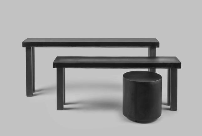 """Not only are these black resin Nesting Tables elegant, but are non-porous and scratch-resistant. Also available in dual pour and sold individually or as a pair. Castors and custom heights available upon request.  Search """"classic danish nesting tables set"""" from Minimalist Furniture Design by Sturdy Living"""