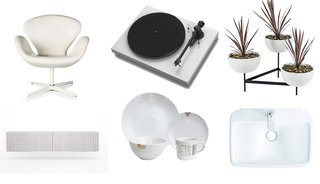 Clockwise from top left: Limited-edition Arne Jacobsen Swan chair, Debut III turntable in gloss white, Case Study bowl planters by Modernica,PuraVida washbasin by Hansgrohe, White Noise dish set by Alyson Fox, and Black and White Dresser by Front.