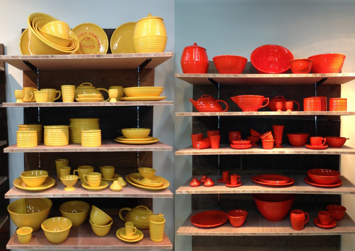 Bauer Pottery's Tokyo showroom sells Russel Wright American Modern dinnerware in a rainbow of colors, including the flame orange version we featured in Dwell's July/August issue.  Photo 3 of 3 in Bauer Pottery Brings US-Made Ceramics to Tokyo