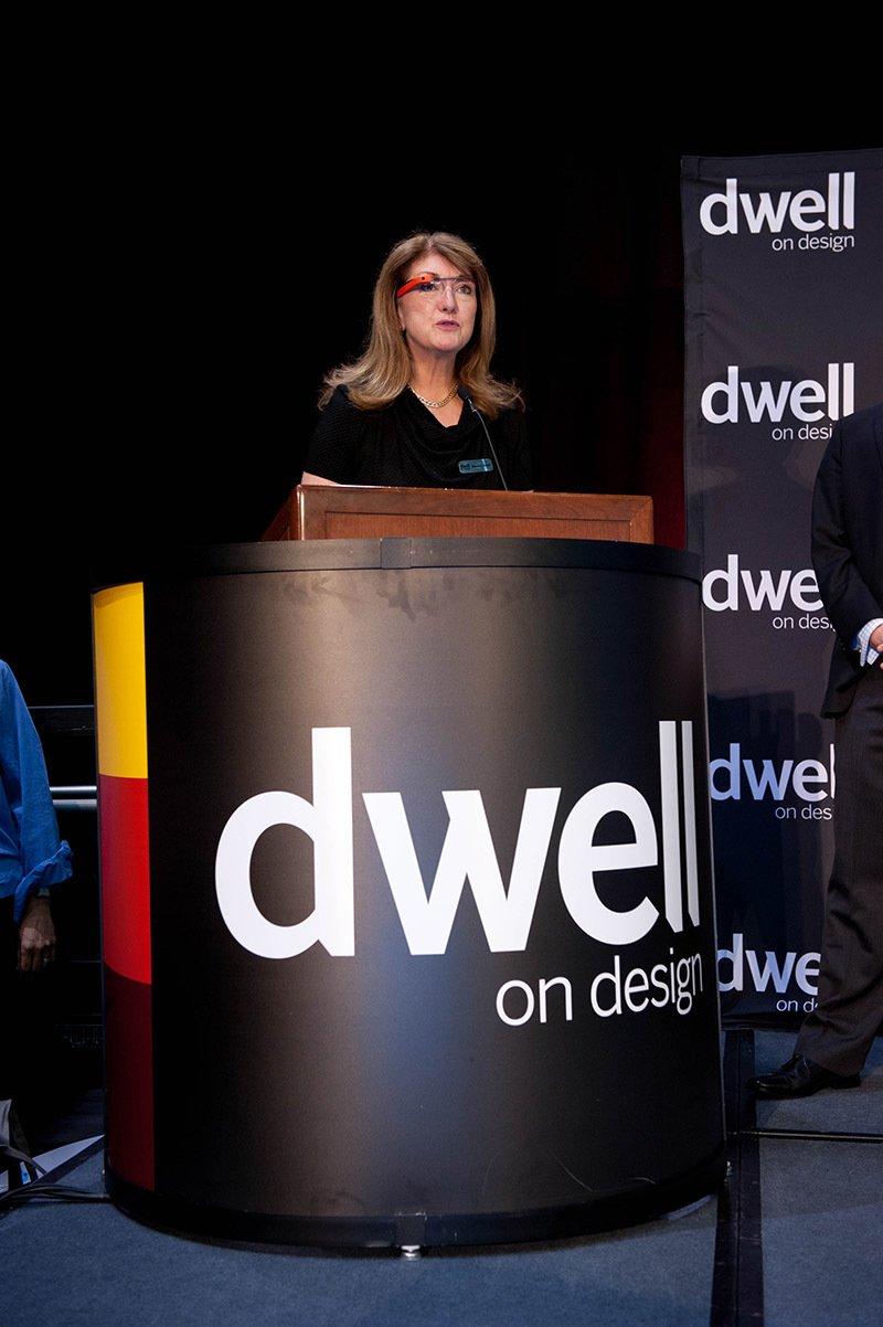 Before the awards presentation, Dwell president Michela O'Connor Abrams (sporting her Google Glass) announced the Dwell Vision Award, a collaboration between Dwell and Big Ass Fans. Photo by: Mimi Teller Rosicky.  Dwell on Design Awards 2013 by Erika Heet