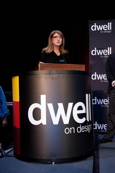 Before the awards presentation, Dwell president Michela O'Connor Abrams (sporting her Google Glass) announced the Dwell Vision Award, a collaboration between Dwell and Big Ass Fans. Photo by: Mimi Teller Rosicky.