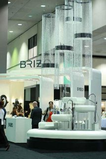 With its multi-tiered fountain, trio of modern structures, and wall of fixtures, Brizo captivated the jury and brought home the award for best Booth. Photo by Alejandro Chavetta.