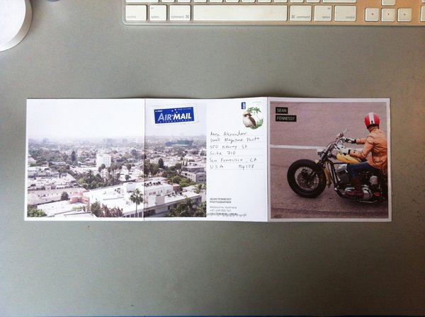 Back fold of the photography promo mailer from Sean Fennessy from Melbourne, Australia.