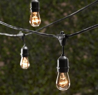 VINTAGE LIGHTING STRING  Just because the sun sets doesn't mean the party has to end. Create the perfect ambiance with these vintage light strings from Restoration Hardware.