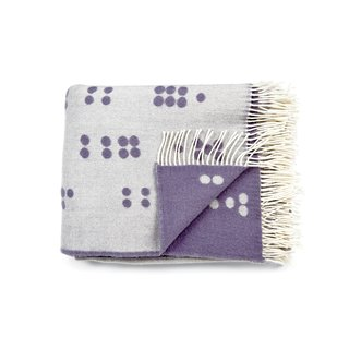 WOOL DOT THROW  A reversible perky polka-dot pattern in jacquard weave graces this jaunty merino wool blanket by Copenhagen textile designer Anne Rosenberg.