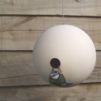 The spherical design of the Birdball encourages small garden birds to nest and find protection from the elements.