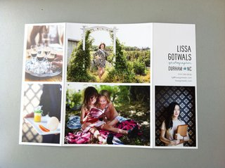 Lissa Gotwals' latest photography promotional card's backside.
